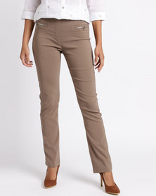 Queenspark Zip Pocket Stretch  Woven Trousers Mocha