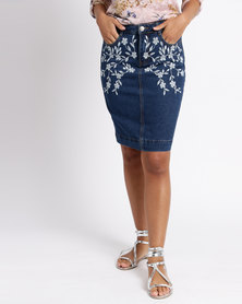 Queenspark Floral Embroidered Woven Denim Skirt Dark Blue