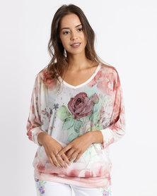 Queenspark Rose Blossom 3/4 Sleeve Mesh Knit Top Peach