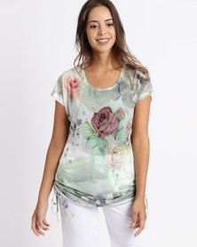 Queenspark Mint Rose Sleeveless Mesh Tie Detail Knit Top Mint