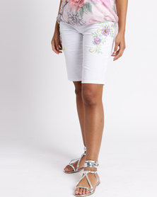 Queenspark Floral Fantasy Woven Shorts White