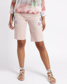 Queenspark Floral Fantasy Woven Shorts Pink