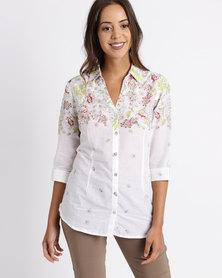 Queenspark Border Print Boile Woven Shirt Multicoloured