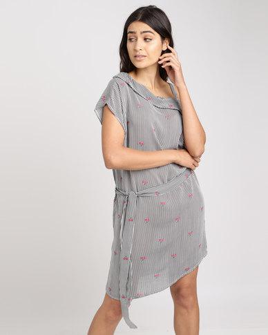Utopia Floral Print Stripe Viscose Tunic Dress Multi