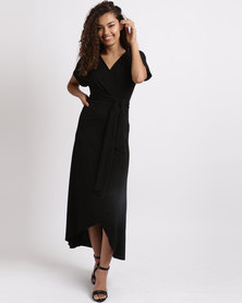 Utopia Bon Bon Wrap Dress With Belt Black
