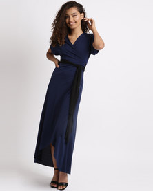 Utopia Bon Bon Wrap Dress With Belt Navy