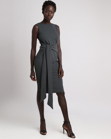Utopia Tie Front Dress Forest Green