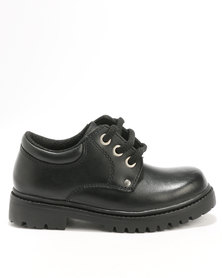 Bronx Boys Pluto Lace Up School Shoe Black