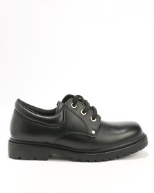 Bronx Boys Pluto Lace Up School Shoe Black