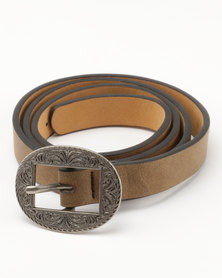 Joy Collectables Skinny Belt Taupe