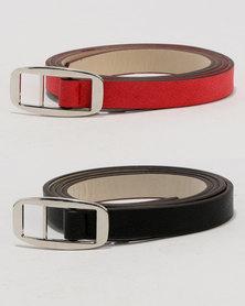 Joy Collectables Skinny Belt 2 Pack Set Black/Red