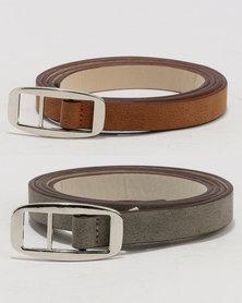 Joy Collectables Skinny Belt 2 Pack Set Brown/Grey