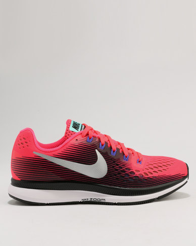 online store 021eb a323a Nike Performance Women's Air Zoom Pegasus 34 Solar Red/Metallic Silver-Black