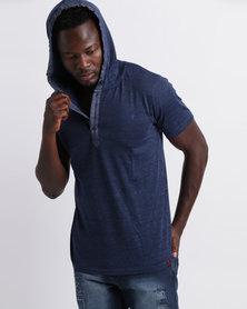 Soviet M Madrid Short Sleeve Hooded Tee With Plaquet Detail Navy