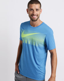 Nike Performance Mens Nike Dry Double Statement Heritage Tee Blue Volt