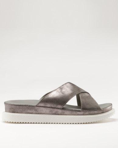 Bata Flat Slip On Footbed Sandal Grey