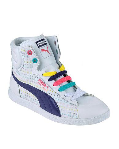 eb6cf8f99339e2 Puma First Round Rainbow Star High Top Sneakers White