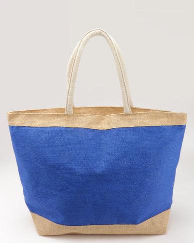 Joy Collectables 100% Natural Jute Zip Closure Beach Bag Blue