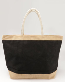 Joy Collectables 100% Natural Jute Zip Closure Beach Bag Black