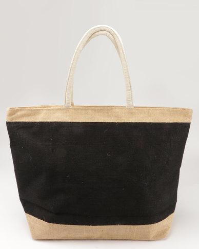 Joy Collectables 100% Natural Jute Zip Closure Beach Bag Black