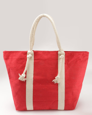 Joy Collectables 100% Natural Jute Zip Closure Beach Bag Red