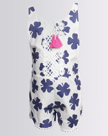 Bugsy Boo Lucky Leaf Jumpsuit Blue White