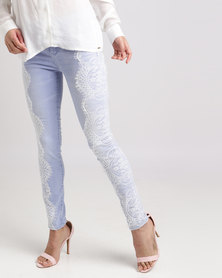 Sissy Boy Axel Mid-rise with Lace on Side Detail Skinny Jean Blue