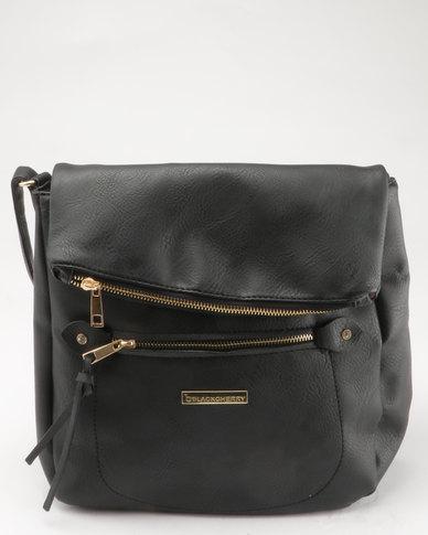 Blackcherry Bag Flap Closure Crossbody Black