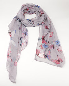 Lily & Rose Butterfly Print Scarf Multi