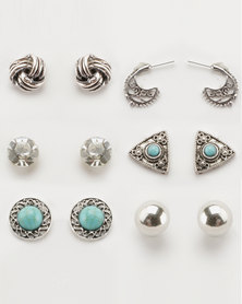 Lily & Rose Large 6 Pack Earrings Set Silver-tone