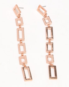 New Look Cut Out Drop Earrings Rose Gold-tone