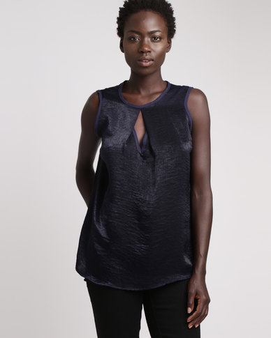 Utopia Hammered Satin Henley Top Navy