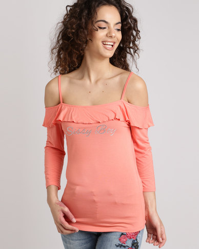 Sissy Boy Cold Shoulder With Frill Overlay Top Coral