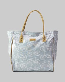 Emily Louise Bicycle Shopper Bag - Grey and White