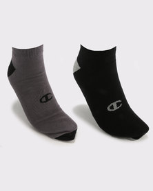 Champion Multi 2 Pack No Show Socks Black/Grey