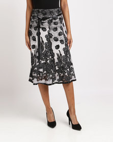 Queenspark Perfect Glamour Woven Skirt Charcoal
