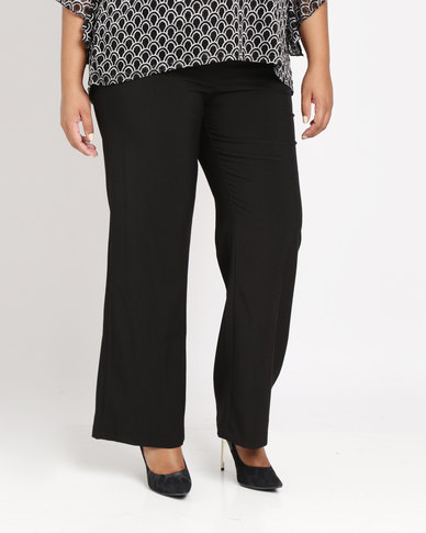 Queenspark Plus Pull On Woven Pants Black