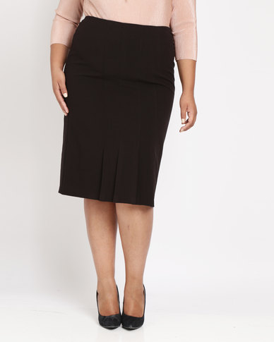 Queenspark Plus Pleated Detail Woven Skirt Black