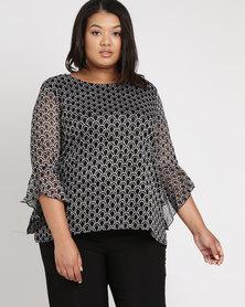 Queenspark Plus Shell Lace Knit Top Black