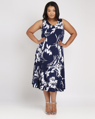 Queenspark Plus Floral Fit & Flare Knit Dress Navy
