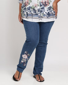 Queenspark Plus Embroidered Full Length Denim Jeans Blue