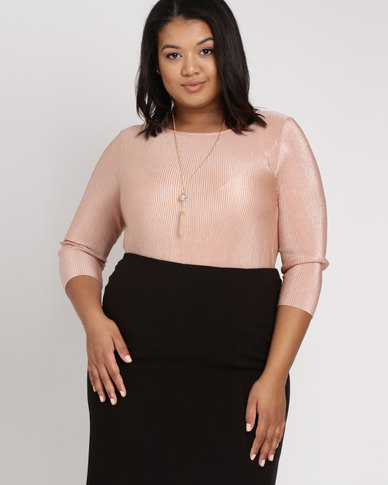 Queenspark Plus Plisse Knit Tunic Pink