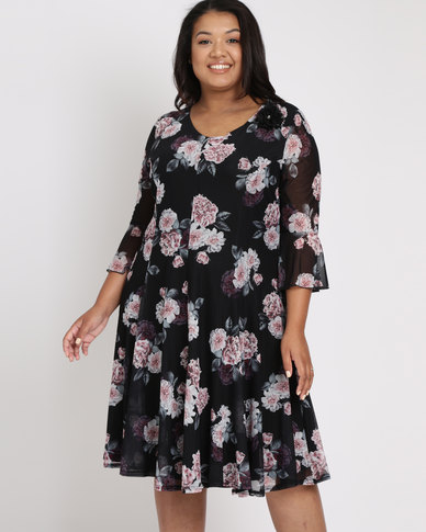 Queenspark Plus Spaced Rose Floral Mesh Dress Black