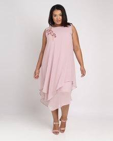 Queenspark Plus Applique Chiffon Woven Overlay Dress Pink