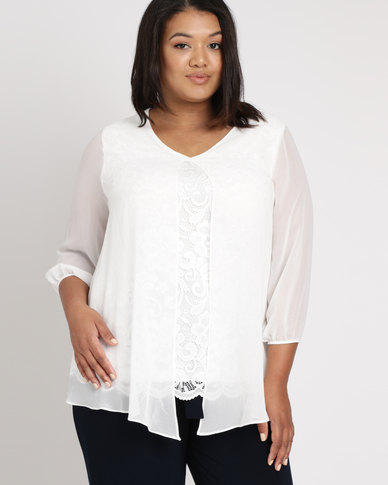 Queenspark Plus Lace & Chiffon Overlay Woven Blouse Cream