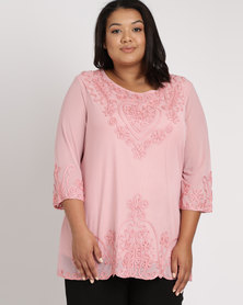 Queenspark Plus New Self Cornelli Knit Top Pink
