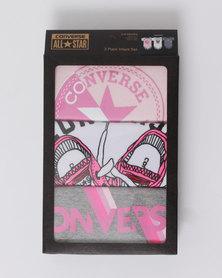 Converse Logo Sport Stripe 3PK Girls Box Set Artic Pink
