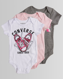 Converse Logo Sport Stripe 3PK Girls Baby Grow Box Set Multi