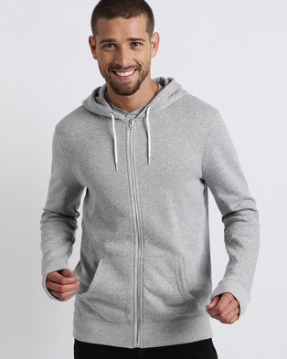 New Look Zip Front Hoodie Grey