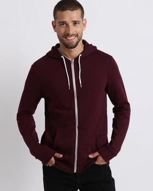 New Look Zip Front Hoodie Wine
